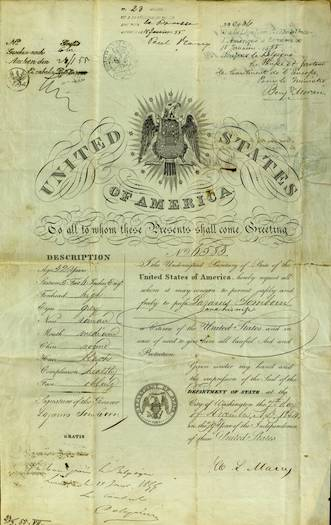 "Passport issued to bearer ""and his wife."" Note physical descriptions like ""roman"" nose and ""healthy"" complexion. 1854. Courtesy of National Archives."