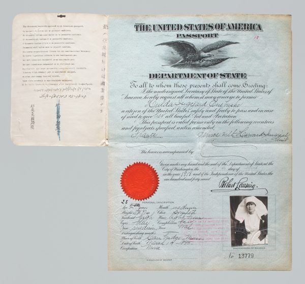 Passport issued to WWI nurse Hulda Euebuske, who appears in her uniform for her passport photo. 1918. Courtesy of State Department, U.S. Diplomacy Center.