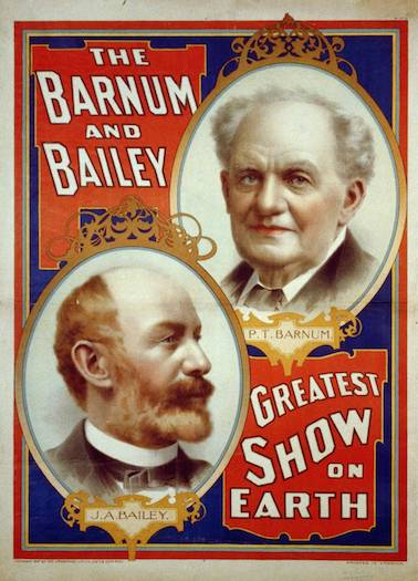 "An 1897 poster advertising Barnum and Bailey's ""Greatest Show on Earth."" Image courtesy of Library of Congress."