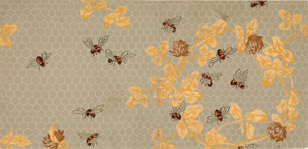 Candace Wheeler, Bees with Honeycomb. Wallpaper. Courtesy of the Metropolitan Museum of Art.