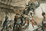 British sailors boarding a Man of War to recapture of the British Hermione in Puerto Cabello, Venezuela, two years after the crew had mutinied. Painting by John Augustus Atkinson; Fry & Sutherland; Edward Orme. Courtesy of the National Maritime Museum.