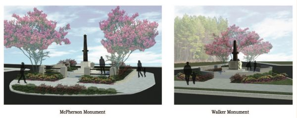 A rendering of plans for the restoration of the McPherson and Walker Monuments. Courtesy of Pimsler & Hoss Architects, Inc.