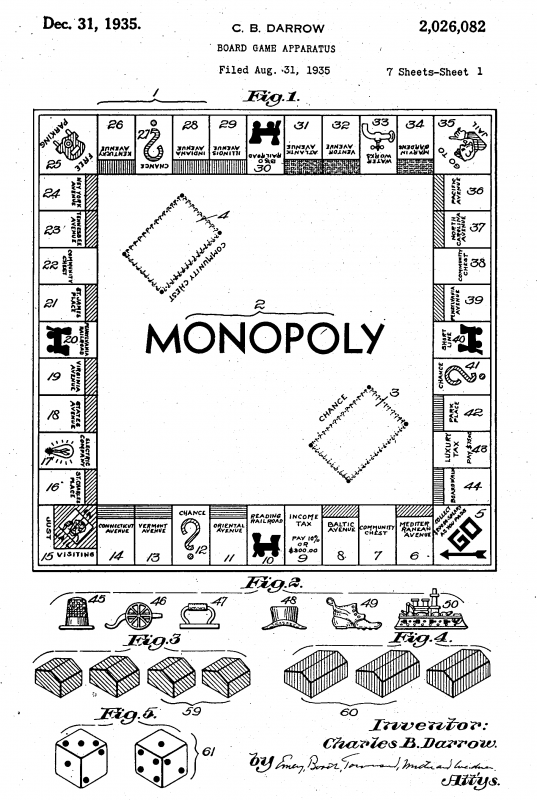 Rendition of Darrow's version of Monopoly. Image courtesy of Tom Forsyth.