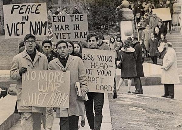 Student protesters marching down Langdon Street at the University of Wisconsin-Madison during the Vietnam War era. Photo courtesy of UW Digital Collections.