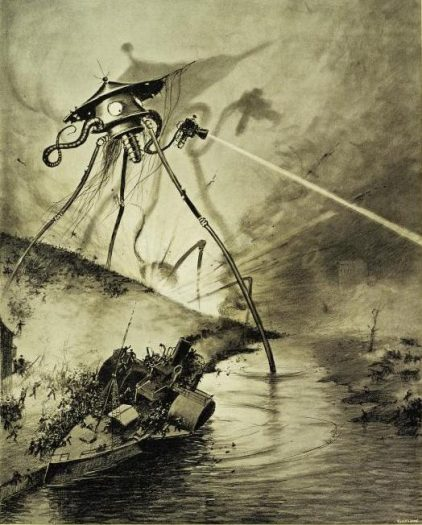 """Le Combat dans la riviere"" (1906). Illustration by Alvim Corrêa (1876-1910) for a work by science fiction author H.G. (Herbert George) Wells (1866-1946). Image courtesy of the Spencer Collection of the New York Public Library Digital Archive."