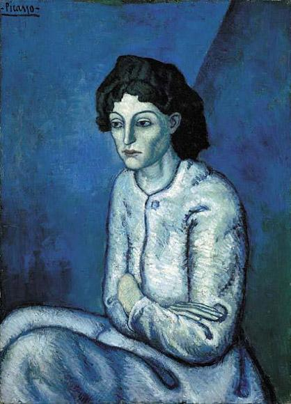 Pablo Picasso, 1901-02, Femme aux Bras Croisés, oil on canvas. Courtesy of Wikimedia Commons.