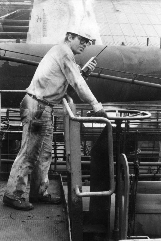 The author at work adjusting the pressure on a unit of coke ovens, Pittsburgh Works Jones & Laughlin Steel Company. Photo courtesy of Ken Kobus.