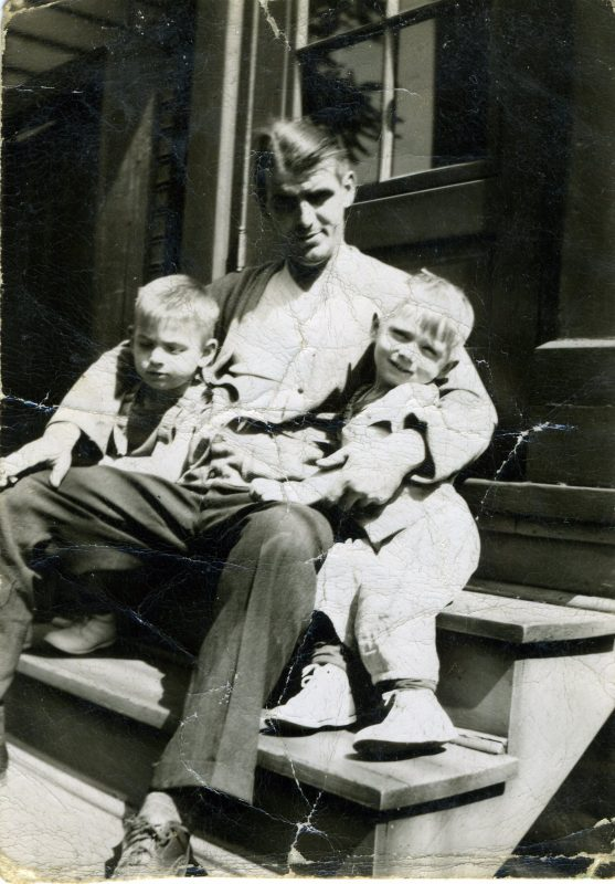 The author's father, John, and two older brothers, Regis and Jerry, in 1945. John worked as a first helper on open hearth steel furnaces at Jones & Laughlin Steel Company Pittsburgh Works starting in 1937. Photo courtesy of Ken Kobus.
