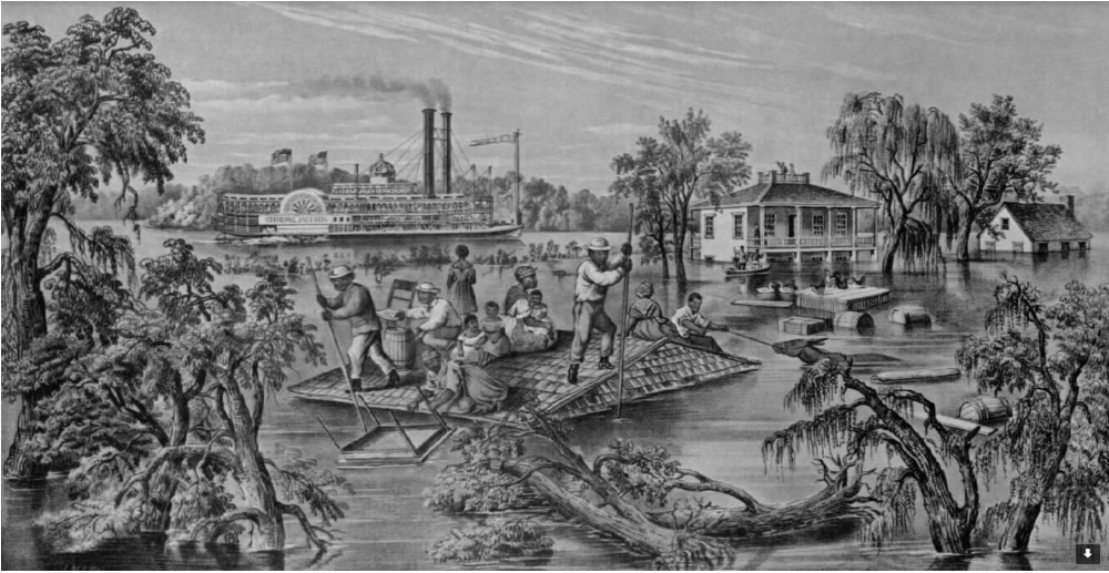 "Even images depicting floods and other disasters tended to romanticize the South, as in this lithograph by Frances F. Palmer, ""High Water in the Mississippi,"" published in 1868 by Currier & Ives, and reprinted in The New York Times, May 1, 1927, when a major flood devastated the area."