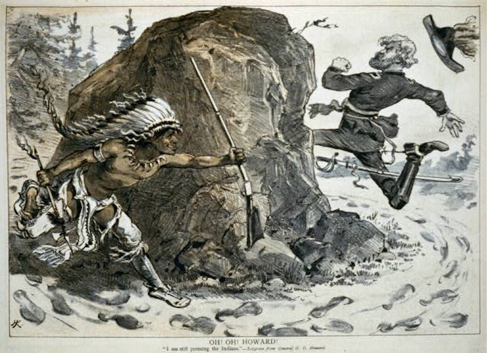 "Caricature from Puck showing Gen. Oliver Otis Howard chasing an Indian around a rock; Aug. 7, 1878. The text reads: Oh! Oh! Howard! ""I am still pursuing the Indians""—telegram from General O.O. Howard. Courtesy of Library of Congress Prints and Photographs Division."