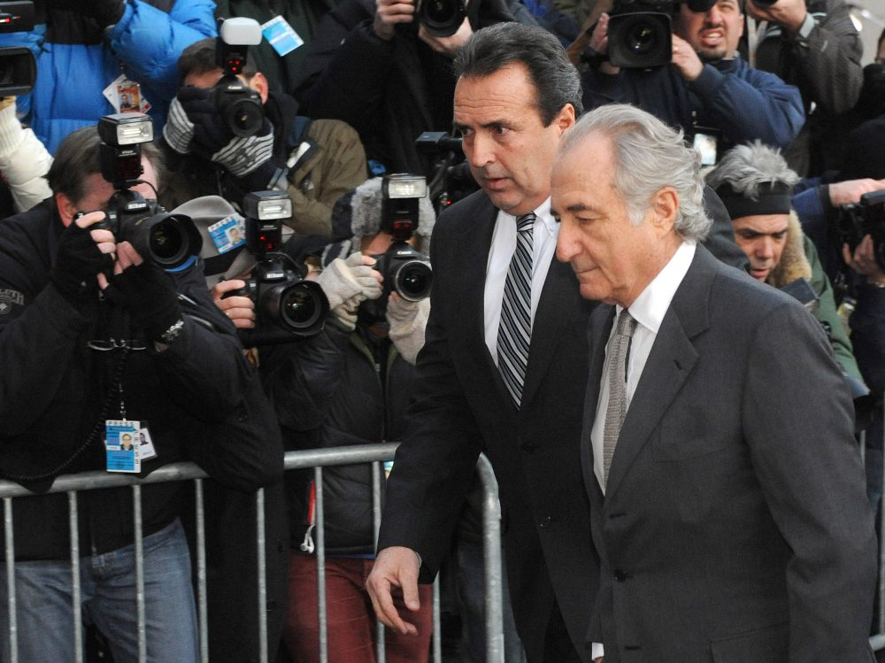 Bernard Madoff, who transformed his wealth management business into one of the biggest scams in history, arrives at Manhattan federal court on March 12, 2009. Photo by Louis Lanzano/Associated Press.