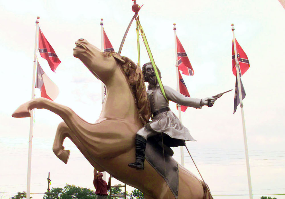 A statue of Confederate Gen. Nathan Bedford Forrest along Interstate 65 in Nashville, 1998. Photo by Mark Humphrey/Assocaited Press.
