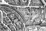 """A 1628 engraving by Matthäus Merian maps Frankfurt's Judengasse, or """"Jews' Alley,"""" one of the earliest ghettos in Germany. Image courtesy of Wikimedia Commons."""