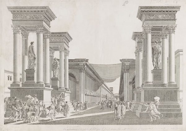 Imaginary view of Tetrapylon. Etching after Louis-François Cassas, ca. 1799/Courtesy of the Getty Research Institute.