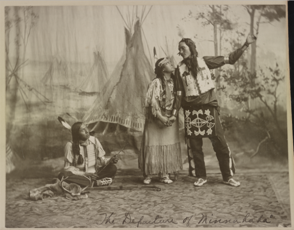 "Lillian Smith as Princess Wenona. Publicity photo from Pawnee Bill's Wild West, circa 1905. In this image, Wenona is Minnehaha, the fictional Native American woman in Henry Wadsworth Longfellow's 1855 poem ""The Song of Hiawatha."" Image courtesy of Library of Congress."