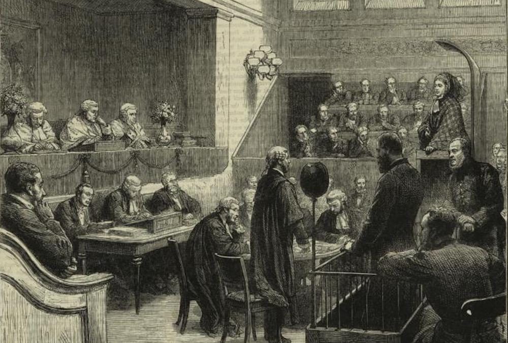 Disorder in the court: California's slow, overloaded legal system has come to resemble the 19th-century British courts (illustrated here) that Charles Dickens depicted as grinding and unjust in his novel, Bleak House. Graphic by Simon Durand (1838-1896)/Courtesy of the New York Public Library Digital Collections.