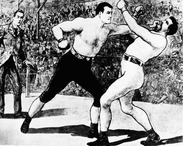 John L. Sullivan and James Corbett squared off in the ring in 1892. Corbett won, signaling the rise of a new, more respectable Irish American athletic icon. Image courtesy of Associated Press.