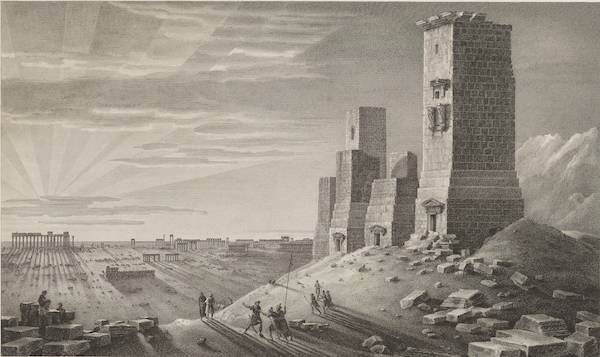 Valley of the Tombs in Palmyra. Etching after Louis-François Cassas, ca. 1799/Courtesy of the Getty Research Institute.