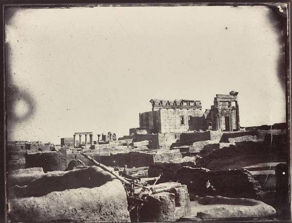 View of the interior courtyard of the Temple of Bel showing the mudbrick homes in the foreground. Albumen print by Louis Vignes, 1864/Courtesy of the Getty Research Institute.