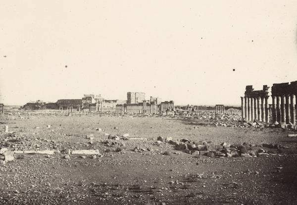 Detail of two-part panorama featuring the Colonnade Street and the Temple of Bel in Palmyra. Albumen print by Louis Vignes, 1864/Courtesy of the Getty Research Institute.