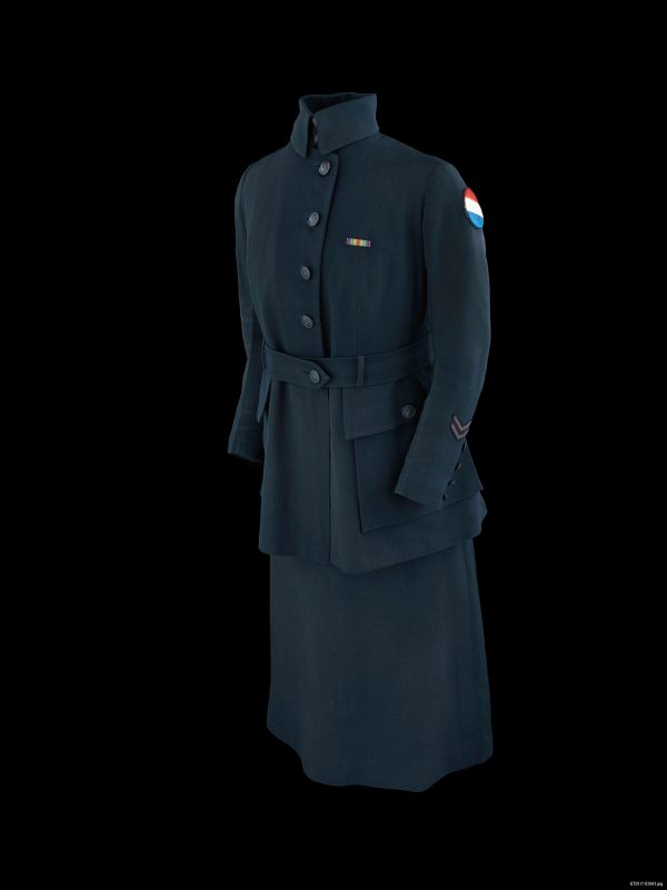 U.S. Army Signal Corps Female Telephone Operator uniform. Worn by Helen Cook, Chief Operator. Gift of Helen Cook through The National Society of the Colonial Dames of America. Image courtesy of Division of Armed Forces History, National Museum of American History. On view inUniformed Women in the Great War.