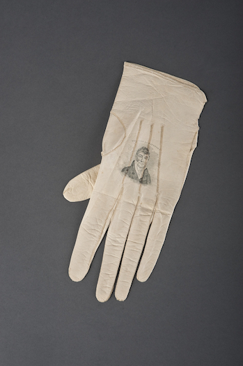 Lady's glove with a portrait of Lafayette, 1825. Image courtesy of Division of Political History, National Museum of American History.