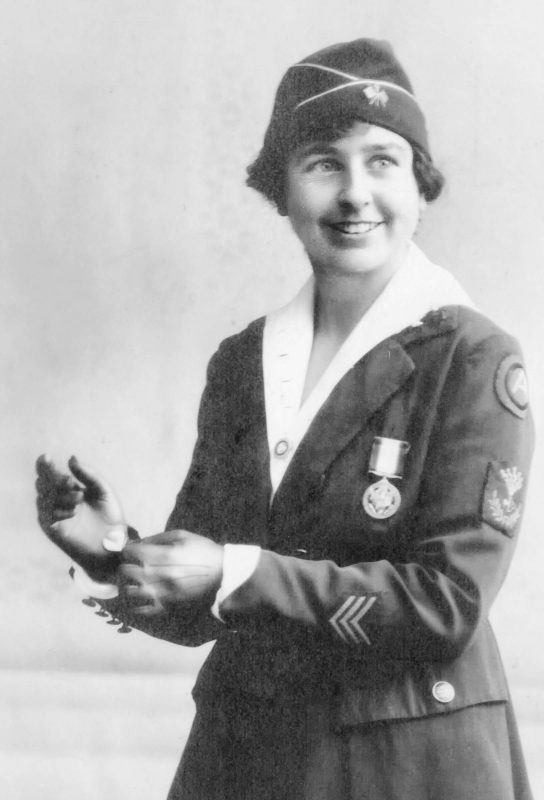 Grace Banker, with three service stripes on her sleeve, wears the Distinguished Service Medal, awarded to only 18 Signal Corps officers of the U.S. Army, including her. Photo courtesy of Robert, Grace, and Carolyn Timbie.