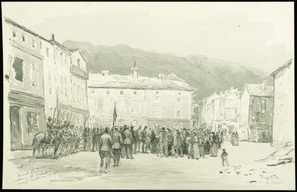 General Pershing Entering St. Mihiel by Ernest Clifford Peixotto, 1918. Image courtesy of Division of Armed Forces History, National Museum of American History.