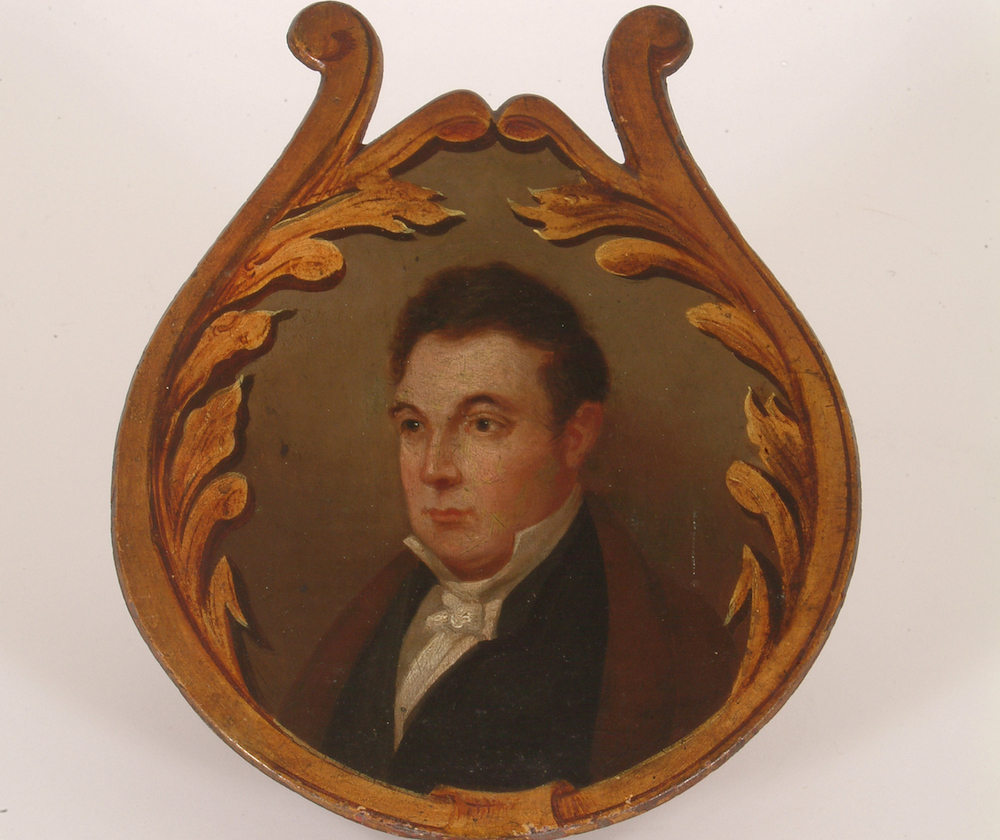 """""""Marquis de Lafayette"""" engine panel painting,Lafayette Hose Company of Philadelphia. Ca 1830-1849. Image courtesy of Division of Home and Community Life, National Museum of American History."""