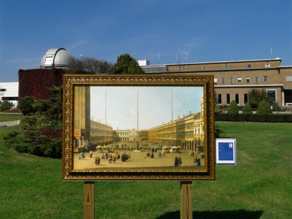 A reproduction of Caneletto's The Piazza San Marco, a painting at the Detroit Institute of Arts, outside near the Cranbrook Institute of Science. Photo courtesy of Maia C./Flickr.