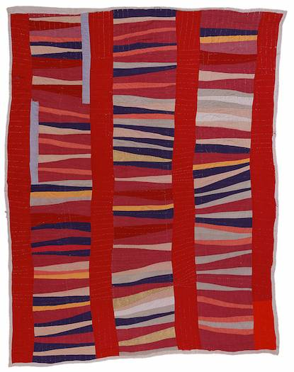 Jessie T. Pettway, Bars and string-pieced column; 1950s; Cotton; 95 x 76 in.; Collection of the Fine Arts Museums of San Francisco. Photo by Stephen Pitkin/Pitkin Studio. Courtesy of the Souls Grown Deep Foundation from the William S. Arnett Collection.