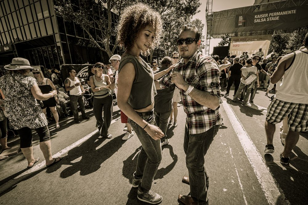 A couple getting their groove on at the San Jose Jazz Festival. Photo courtesy of San Jose Jazz Festival.