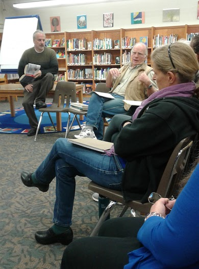 The author, Christopher Phillips (left), with participants in a Constitution Café at a public library in Mt. Shasta, California. Photo courtesy of Christopher Phillips.