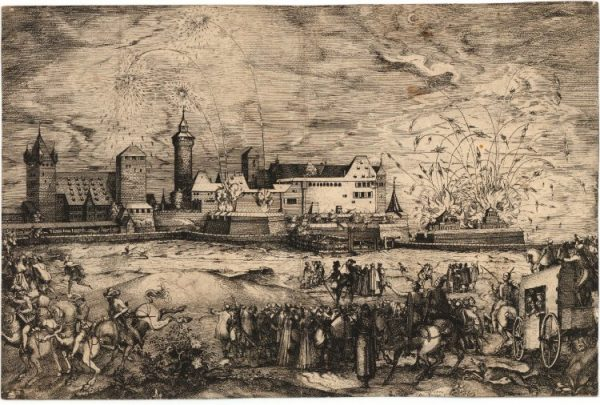 A 1570 print showing fireworks at Nuremberg in honor of Emperor Maximilian II. Image courtesy of the British Museum.