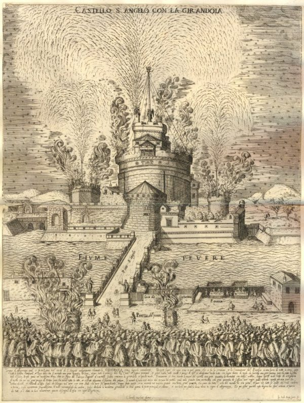 A 1579 print showing fireworks at the Castello Sant'Angelo in Rome. Image courtesy of the British Museum.
