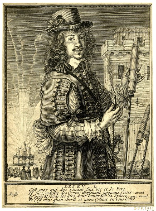 A 1630 print showing a man holding a rocket with fireworks in the background. Image courtesy of the British Museum.