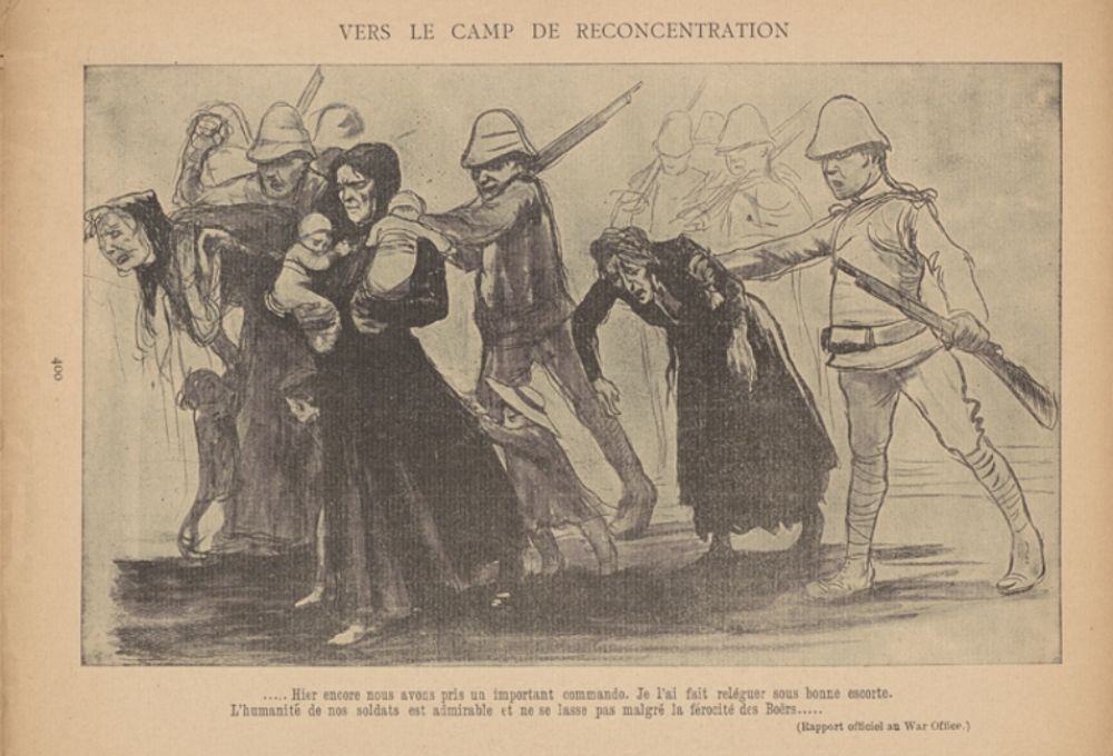 the invention and evolution of the concentration camp essay  an illustration by cartoonist jean veber depicts british army troops rounding up south african boer civilians image courtesy of the miriam and ira d