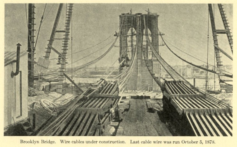 The Germanamerican Family Who Built The Brooklyn Bridge  Essay  Cables Being Strung On The Brooklyn Bridge  Photo Courtesy Of  Wikimedia Commons
