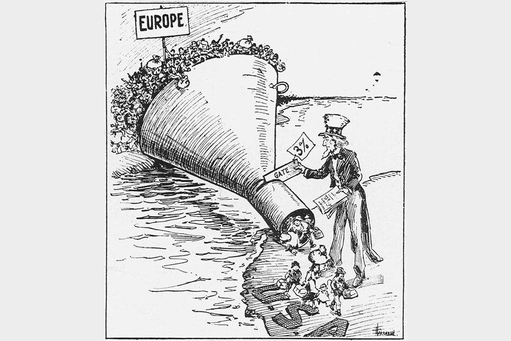 Essay In English A  Political Cartoon Portrays Americas New Immigration Quotas  Influenced By Popular Antiimmigrant And Nativist Sentiment Stemming From  World War I  Argumentative Essay Thesis Statement also Speech Outline Buying S The Volume Government Report That Turned Immigration Into A  Thesis Statement Descriptive Essay