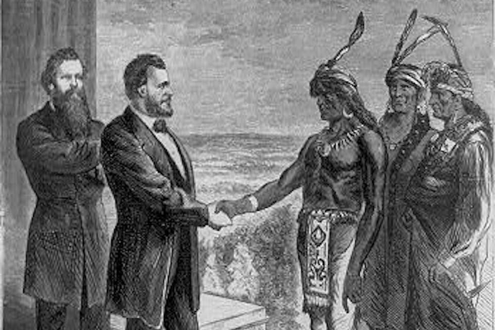 Write A Good Thesis Statement For An Essay On An  Cover Of Harpers Weekly President Ulysses S Grant Is Shown  Greeting The Oglala Chief Red Cloud Who Came To Visit Him In Washington  Terrorism Essay In English also Science Technology Essay Ulysses Grants Forgotten Fight For Native American Rights  Essay  Sample Essay Paper