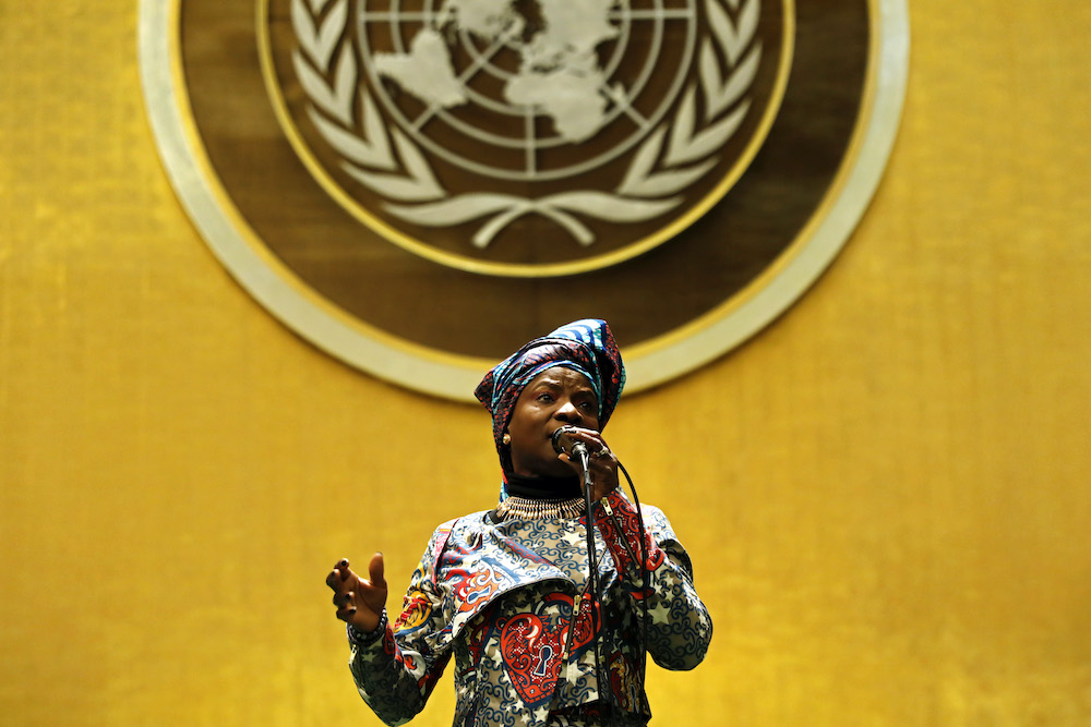 UNICEF Goodwill Ambassador and Grammy Awards winner Angelique Kidjo speakes at the United Nations Observance of International Women's Day 2020.