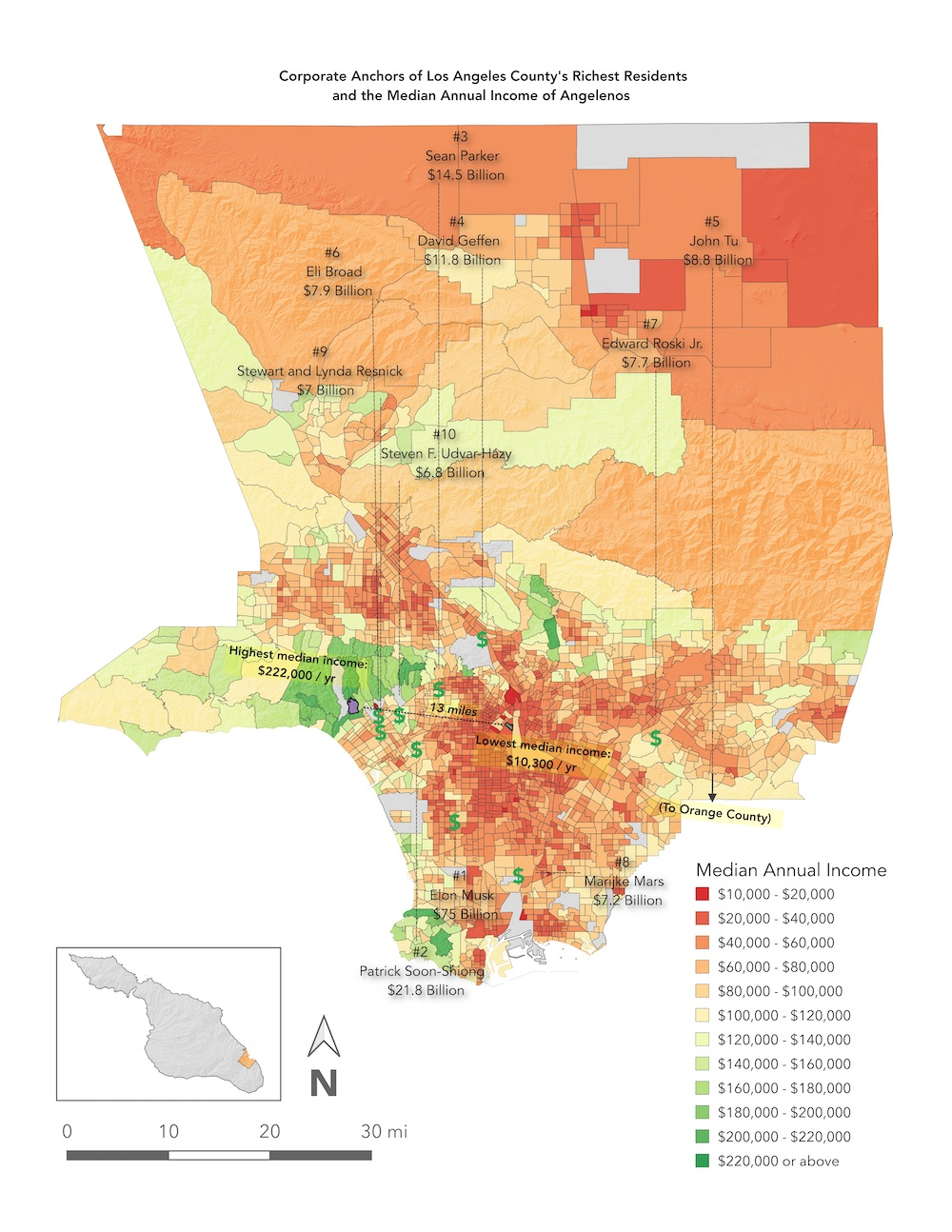 A map of the businesses of the 10 richest Angelenos