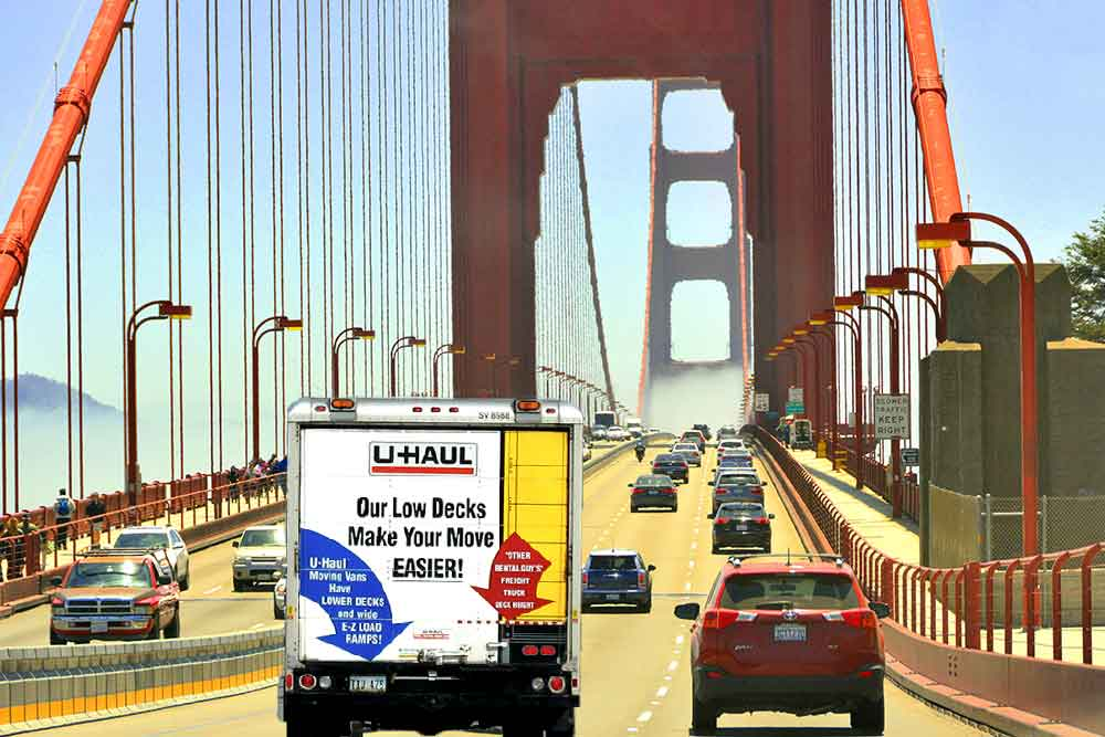 a moving truck on the Golden Gate Bridge